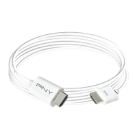 White PNY HDMI Apple HDMI High Speed 16 ft. coiled. Click image for product detail.