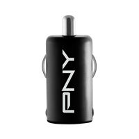 PNY USB Car Charger Black front. Click image for product details.