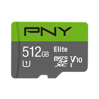 512GB PNY Elite microSDXC Card CL 10 90MB/s with Adapter